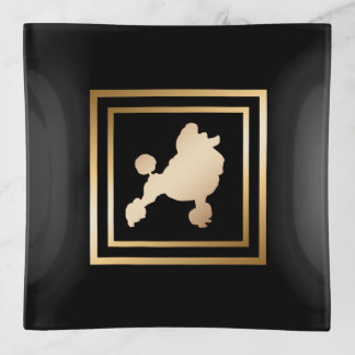 Bandejas Caniche do quadro do ouro no preto