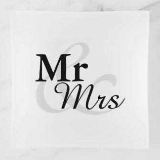Bandejas Casamento elegante da tipografia de Mr&Mrs