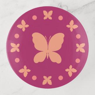 Bandejas Coral claro feminino bonito, rosa, borboletas