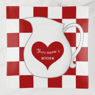 Bandejas Cozinha branca vermelha