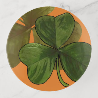 Bandejas Design verde do trevo na cor feita sob encomenda