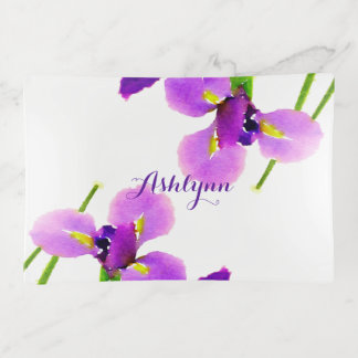 Bandejas Íris roxa floral da aguarela moderna personalizada