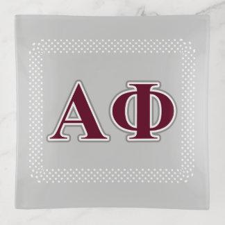 Bandejas Letras alfa da prata e do Bordéus da phi