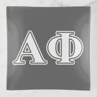 Bandejas Letras brancas e de prata da phi alfa