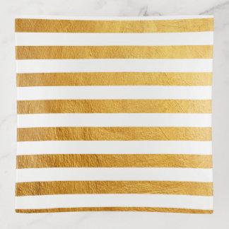 Bandejas Listras elegantes bonito da pintura da folha de