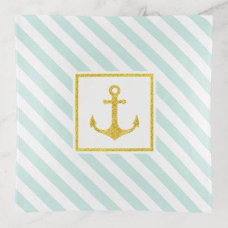 Bandejas Luz náutica - âncora dourada do brilho das listras