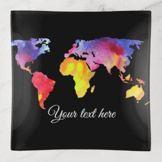 Bandejas Mapa do mundo artística com seu texto feito sob
