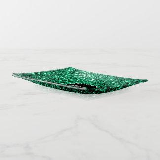 Bandejas Monograma bonito dos sparkles do brilho do verde