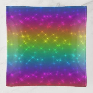 Bandejas O arco-íris brilhante Sparkles bandeja do Trinket