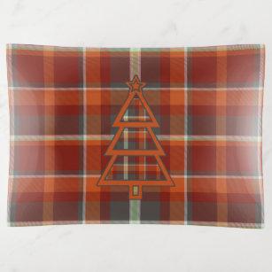Bandejas Paprika da árvore de Natal do Tartan e ardósia