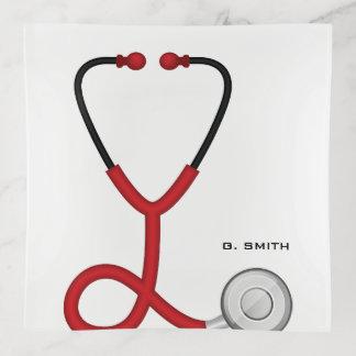 Bandejas Para doutores e enfermeiras. Estetoscópio médico