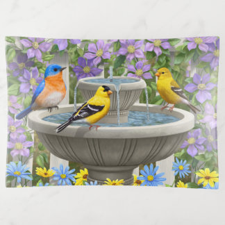 Bandejas Pássaros e jardim coloridos do banho do pássaro