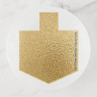"""Bandejas Prato de vidro """"ouro Dreidel """" de Hanukkah Dreidel"""