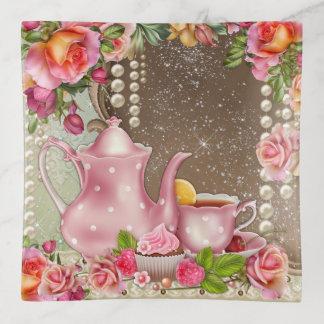 Bandejas Prato do Trinket do tema do chá da mulher