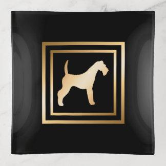 Bandejas Quadro Airedale do ouro no preto