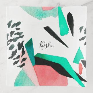 Bandejas Teste padrão abstrato moderno da aguarela com nome