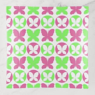 Bandejas Teste padrão de borboleta verde de néon