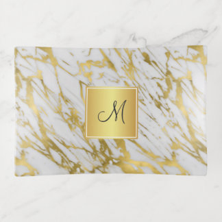 Bandejas Teste padrão de mármore dourado elegante com seu