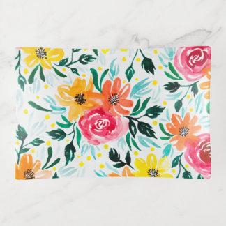Bandejas Teste padrão floral da ilustração da aguarela