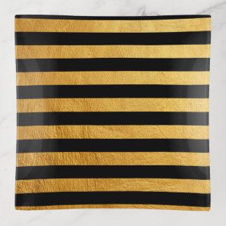 Bandejas Teste padrão horizontal da listra da pintura preta