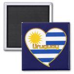 Bandera de URUGUAY elegante corazón y Sol de Mayo Ímã Quadrado