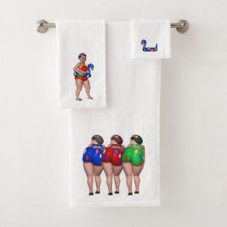 Banhando o grupo de toalha da beleza