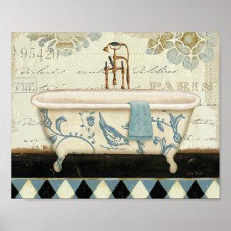 Banheira do francês do vintage pôster