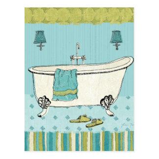 Banheiro azul antiquado cartão postal