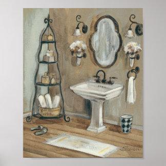 Banheiro francês com espelho e dissipador pôster