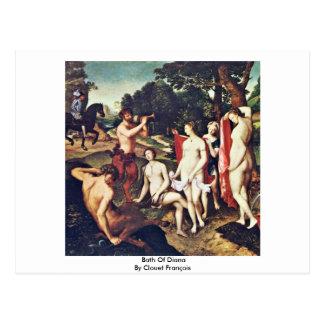 Banho de Diana por Clouet François Cartões Postais