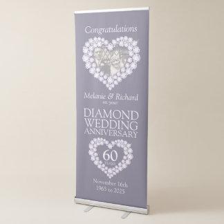 Banner Retrátil 60th Coração da foto do aniversário de casamento