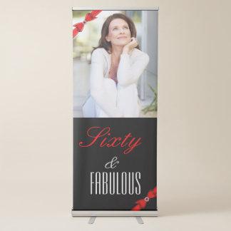Banner Retrátil Aniversário elegante preto vermelho fabuloso de 60