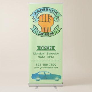 Banner Retrátil Mecânico verde do serviço | do carro da loja de