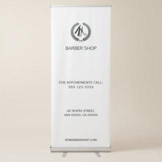 Banner Retrátil Modelo preto e branco da barbearia simples