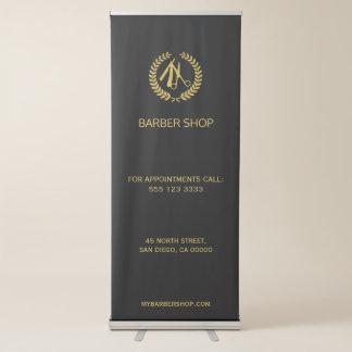 Banner Retrátil Ouro luxuoso da barbearia e cor preta editável