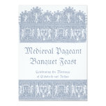 Banquete medieval elegante do banquete do azul convite 12.7 x 17.78cm