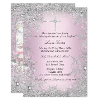 Baptismo/batismo de prata cor-de-rosa do floco de convite 12.7 x 17.78cm