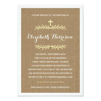Baptismo/batismo rústicos do papel de embalagem  