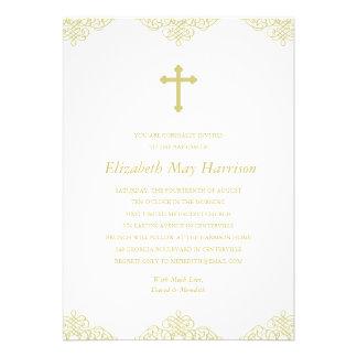 Baptismo/batismo transversais do ouro convites personalizado