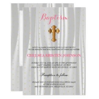 Baptismo branco bonito/batismo do cetim convite 12.7 x 17.78cm