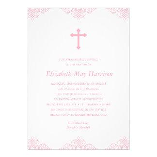 Baptismo cor-de-rosa bonito batismo das meninas do convite personalizados
