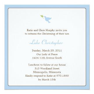 Baptismo da pomba do azul/convite do batismo convite quadrado 13.35 x 13.35cm