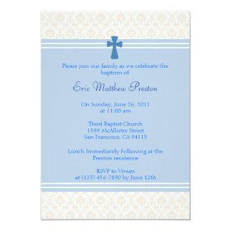 Baptismo do damasco/convite azuis do batismo convite 12.7 x 17.78cm