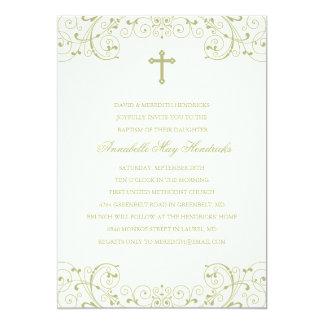 Baptismo do ouro/convite transversais do batismo convite 12.7 x 17.78cm