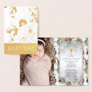 Baptismo elegante da foto do bebé dos anjos da cartão metalizado