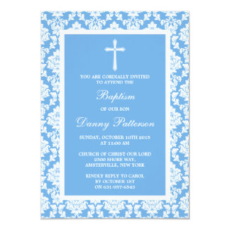 Baptismo ou batismo azul da cruz do damasco convite 12.7 x 17.78cm