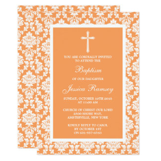Baptismo ou batismo da cruz do damasco do pêssego convite 12.7 x 17.78cm