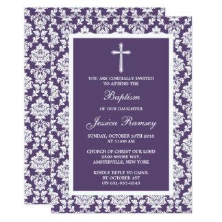 Baptismo ou batismo roxo da cruz do damasco convite 12.7 x 17.78cm