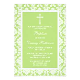 Baptismo ou batismo verde da cruz do damasco convite 12.7 x 17.78cm