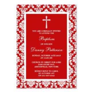 Baptismo ou batismo vermelho da cruz do damasco convite 12.7 x 17.78cm